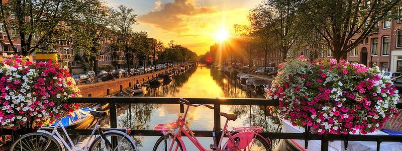 Sunset over Amsterdam canals with bicycles and flowers