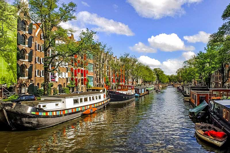 Amsterdam river and boats